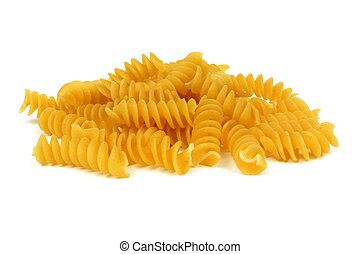 Pile of uncooked dry rotini pasta isolated on a white background