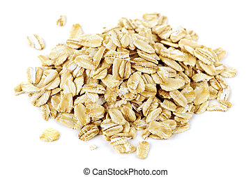 Pile of uncooked rolled oats - Heap of dry rolled oats ...