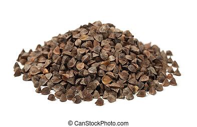 Pile of unhulled buckwheat isolated on white