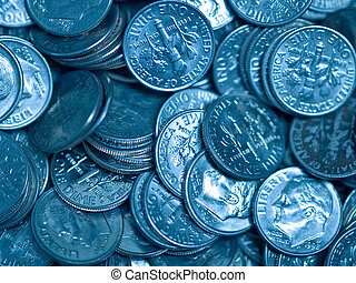 Pile of United States Coins Bluetone Dimes