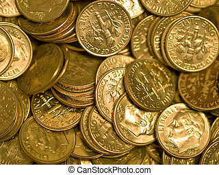 Pile of United States Coins Goldtone Dimes