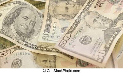Pile of USA money bills rotating - Shot of Pile of USA money...