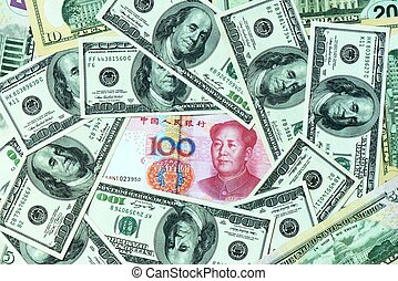 Pile of USD and RMB bank notes as money background