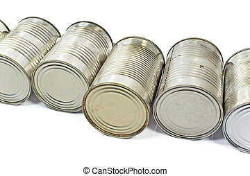 Pile of used cans over white background