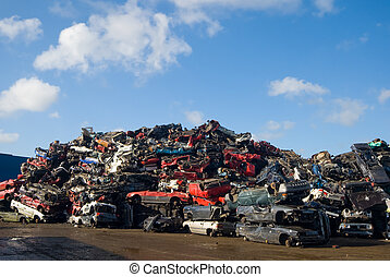 pile of used cars - A lot of used cars in the junkyard