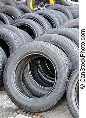 Pile of used rubber tires.