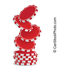 Pile of vector red casino chips