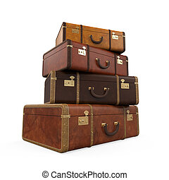 Pile of Vintage Suitcases isolated on white background. 3D...