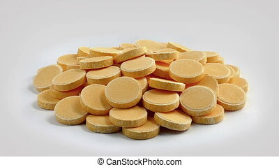 Pile Of Vitamin C Tablets On Plain Background - Pile of...