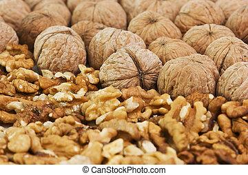 pile of walnuts broken