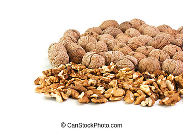 pile of walnuts isolated on a white background
