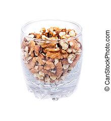 pile of walnuts nuts broken