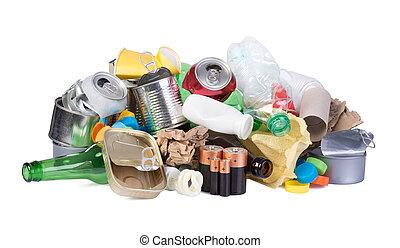 Pile of waste isolated on white background