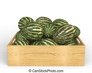 Pile of watermelons in wooden case