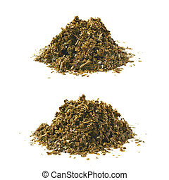 Pile of wet mate tea leaves isolated over the white...