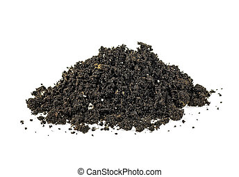 Pile of wet soil isolated on white background