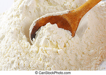 Pile of wheat flour - Pile of finely ground flour and wooden...