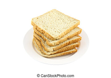 Pile of wheat slice bread dish on white background.
