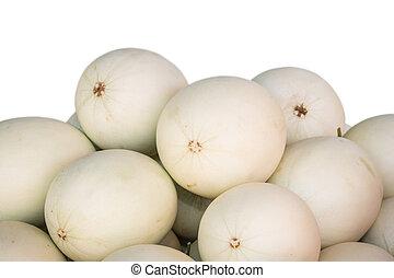 Pile of white cantaloupe isolated on white background