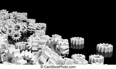 Pile of white cogwheels isolated on black background