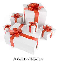 Pile of white gifts with red ribbons isolated on white and...