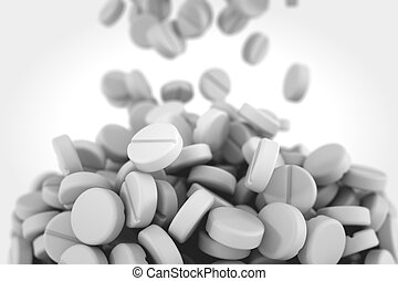Round white pills falling and forming big pile.
