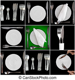 Pile of white plates, glasses, fork