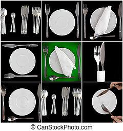 Pile of white plates, glasses, fork
