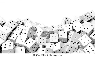 Pile of white random dices with copy-space, isolated on white background