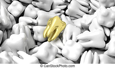 Pile of white teeth with one gold, abstract conceptual...