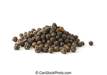 Pile of whole aromatic peppercorn