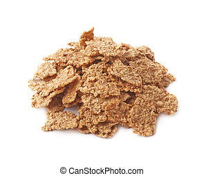Pile of whole grain cereal flakes