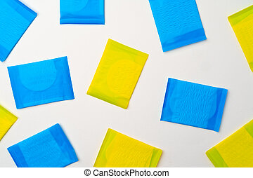 Pile of woman pads on white background