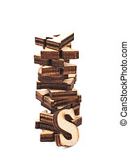 Pile of wood carved letters isolated