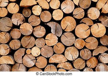 Pile of wood logs storage