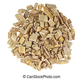 Pile of wood smoking chips isolated on a white background, top view.