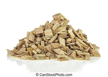 Pile of wood smoking chips isolated on white background