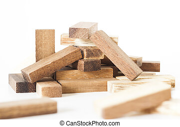Pile of wooden blocks