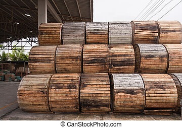 Pile of wooden electric wire reels