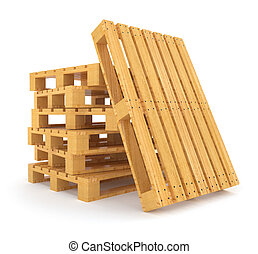 Pile of wooden pallets isolated on white background - Pile...