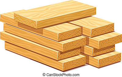 Pile of wooden timber planks