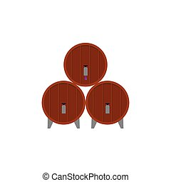 Pile of wooden wine barrels icon, flat vector illustration isolated on white.