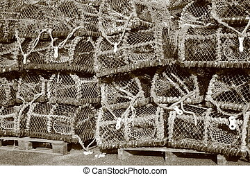 Pile of worn fishing traps for eels