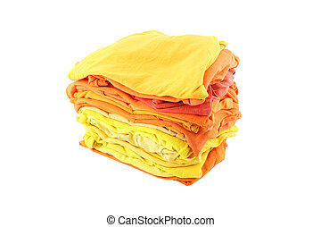 Pile of yellow and orange shade cloths on white background.