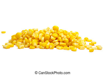 Pile of yellow corn grains isolated on the white background