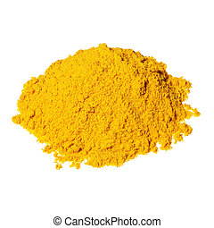 Pile of yellow curry powder isolated over the white background.