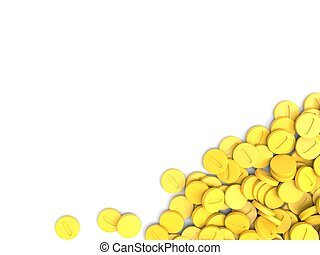 Pile of yellow medicine pills - isolated on white background
