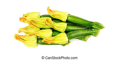 Pile of zucchini flowers isolated on white background