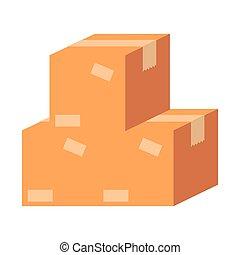 pile packing boxes carton vector illustration design