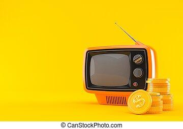 pile, pièces, ensemble, vieux, tv